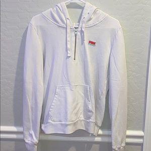 White quarter zip hoodie sweatshirt